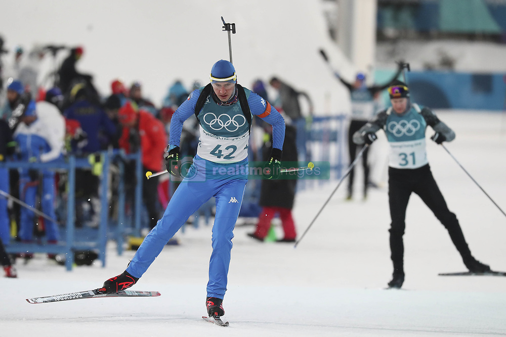 February 11, 2018 - Pyeongchang, GANGWON, SOUTH KOREA - Feb 11, 2018-Pyeongchang, South Korea-Dominik WINDISCH of Italy action on the snow during an Olympic Biathlon Mens Sprint 10Km at Biathlon Center in Pyeongchang, South Korea. (Credit Image: © Gmc via ZUMA Wire)