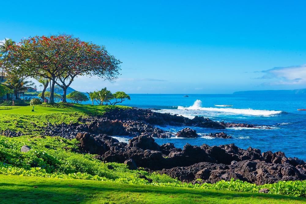 Waves Crash against the Rocks in Wailea, Hawaii
