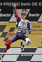02.05.2010, Motomondiale, Jerez de la Frontera, ESP, MotoGP, Race, im Bild Jorge Lorenzo - Fiat Yamaha team, Jubel, celebrate. EXPA Pictures © 2010, PhotoCredit: EXPA/ Alterphotos/ J. M. COLOMO / SPORTIDA PHOTO AGENCY