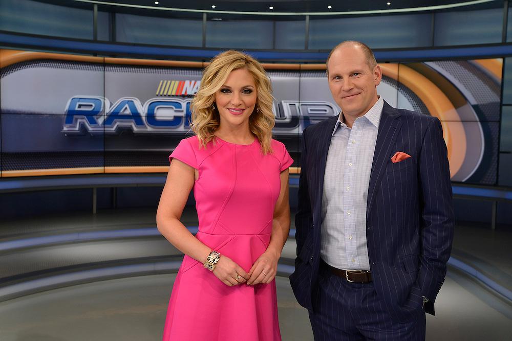 Danielle Trotta and Adam Alexander on the 2016 set of Race Hub.