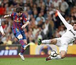 10.04.2010, Estadio Santiago Bernabeu, Madrid, ESP, Primera Division, Real Madrid vs FC Barcelona, im Bild Messi goal. EXPA Pictures © 2010, PhotoCredit: EXPA/ Alterphotos/ Cesar Cebolla / SPORTIDA PHOTO AGENCY