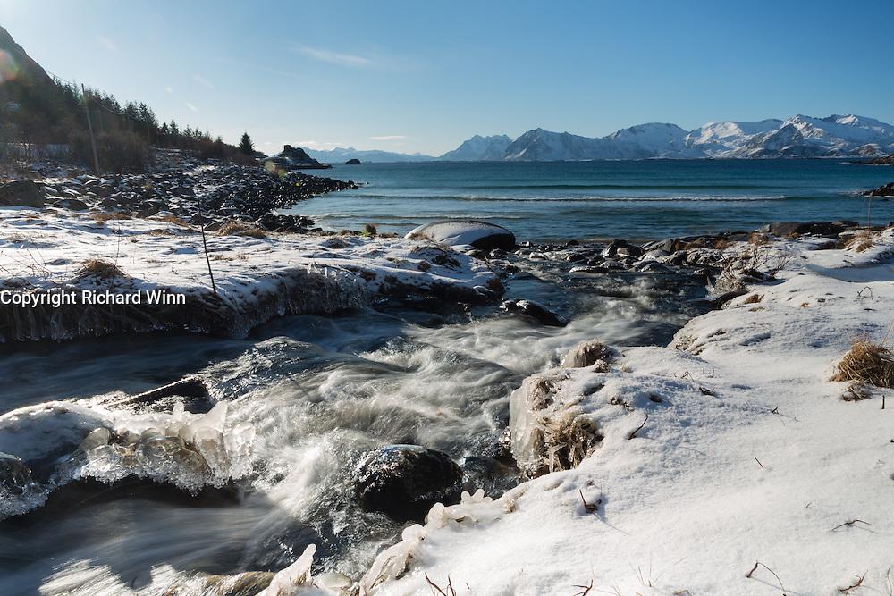 Beach in Vestvågøy, one of the Lofoten Islands in Norway.