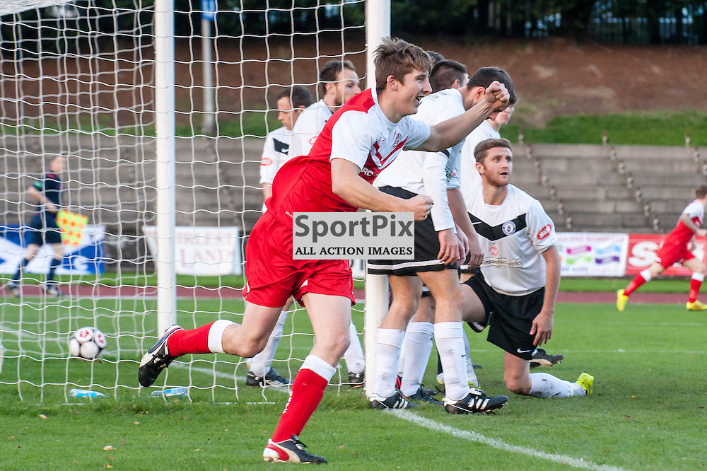 Brora Rangers Defender Colin Williamson turns to celebrate after scoring the equalising goal. Action from the Scottish Cup 3rd Round game between Edinburgh City and Brora Rangers at Meadowbank Stadium in Edinburgh, 1 November 2014. (c) Paul J Roberts / Sportpix.org.uk