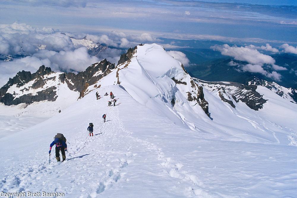 Mt. Baker, WA. 10,781 ft. Climbers heading to the Summit