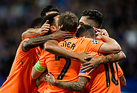 MARIBOR, SLOVENIA - OCTOBER 17: Players of Liverpool FC celebrate after scoring second goal for Liverpool during UEFA Champions League 2017/18 group E match between NK Maribor and Liverpool FC at Stadium Ljudski vrt, on October 17, 2017 in Maribor, Slovenia. (Photo by Vid Ponikvar / Sportida)