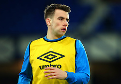 Seamus Coleman of Everton warns ahead of his return to action after breaking his leg - Mandatory by-line: Robbie Stephenson/JMP - 31/01/2018 - FOOTBALL - Goodison Park - Liverpool, England - Everton v Leicester City - Premier League