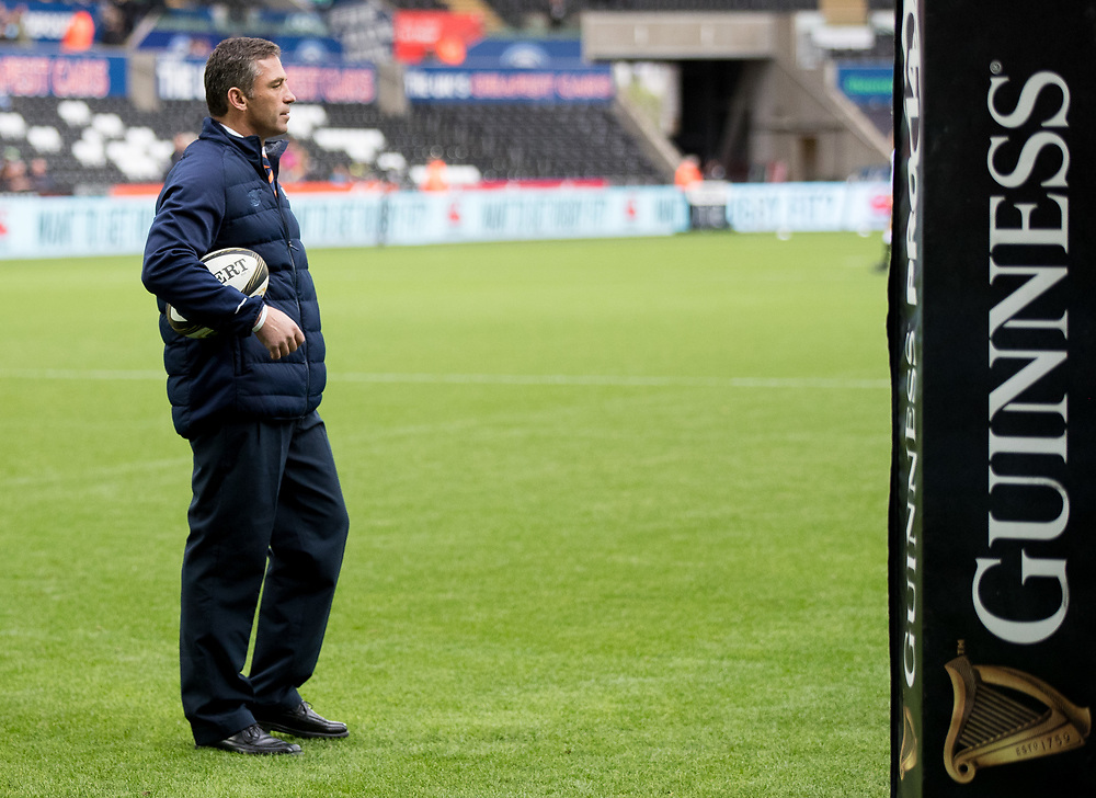 Head Coach Franco Smith of Cheetahs during the pre match warm up<br /> <br /> Photographer Simon King/Replay Images<br /> <br /> Guinness PRO14 Round 2 - Ospreys v Cheetahs - Saturday 8th September 2018 - Liberty Stadium - Swansea<br /> <br /> World Copyright © Replay Images . All rights reserved. info@replayimages.co.uk - http://replayimages.co.uk