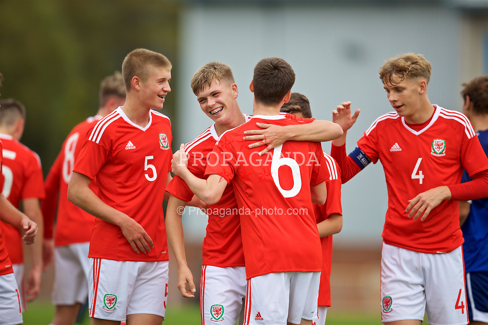 NEWPORT, WALES - Sunday, September 24, 2017: Wales' Owen Hesketh [#6] celebrates scoring the third goal during an Under-16 International friendly match between Wales and Gibraltar at the Newport Stadium. (Pic by David Rawcliffe/Propaganda)