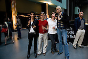 YAEL BARTANA; KRISTIN KRAMER; LYN LOEWENSTEIN; FLOOR WULLENS.  HBOX opening Hosted by Tate Modern and Hermes.  Turbine Hall. London. 3 July 2008.  *** Local Caption *** -DO NOT ARCHIVE-© Copyright Photograph by Dafydd Jones. 248 Clapham Rd. London SW9 0PZ. Tel 0207 820 0771. www.dafjones.com.
