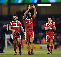 The Georgia team acknowledge the supporters after the match - Mandatory byline: Patrick Khachfe/JMP - 07966 386802 - 02/10/2015 - RUGBY UNION - Millennium Stadium - Cardiff, Wales - New Zealand v Georgia - Rugby World Cup 2015 Pool C.