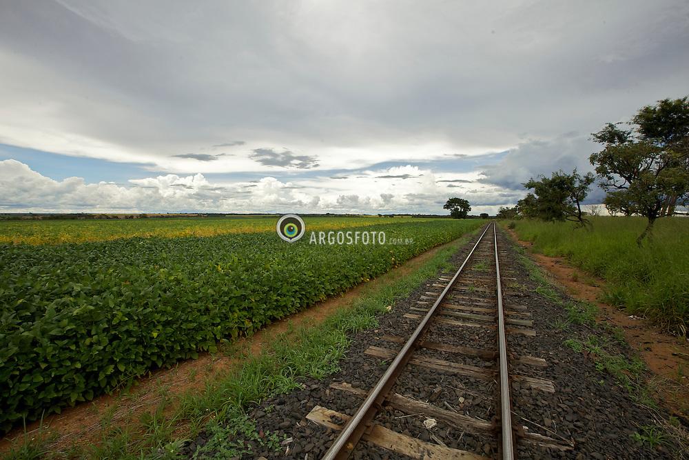 Ferrovia em meio a campos de soja no municipio de Vianopolis, regiao de cerrado/ Railroad in the midst of soybean fields in the municipality of Vianópolis savannah region. Goias, Brazil
