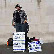 A Christian preacher in Trafalgar Square, London, UK 24 October 2018