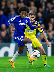 Willian of Chelsea vs Ales Mejac of Maribor during football match between Chelsea FC and NK Maribor, SLO in Group G of Group Stage of UEFA Champions League 2014/15, on October 21, 2014 in Stamford Bridge Stadium, London, Great Britain. Photo by Vid Ponikvar / Sportida.com