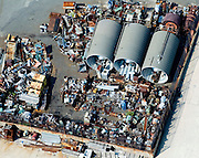 Aerial view of scrap metal and junk waiting to be recycled.