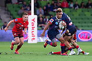 MELBOURNE, AUSTRALIA - APRIL 06: Will Genia of the Rebels runs the ball at round 8 of The Super Rugby match between Melbourne Rebels and Sunwolves on April 06, 2019 at AAMI Park in VIC, Australia. (Photo by Speed Media/Icon Sportswire)