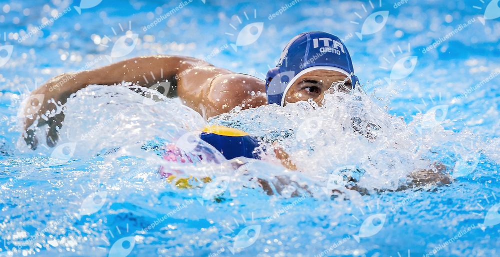 4 FIGLIOLI Pietro ITA<br /> match Australia (white) Vs. Italy (blue) AUS-ITA<br /> day 01 - 23/06/2015<br /> FINA Water Polo World League Superfinal Men<br /> Bergamo (ITA) 23-28 June 2015<br /> Photo G.Scala/Deepbluemedia