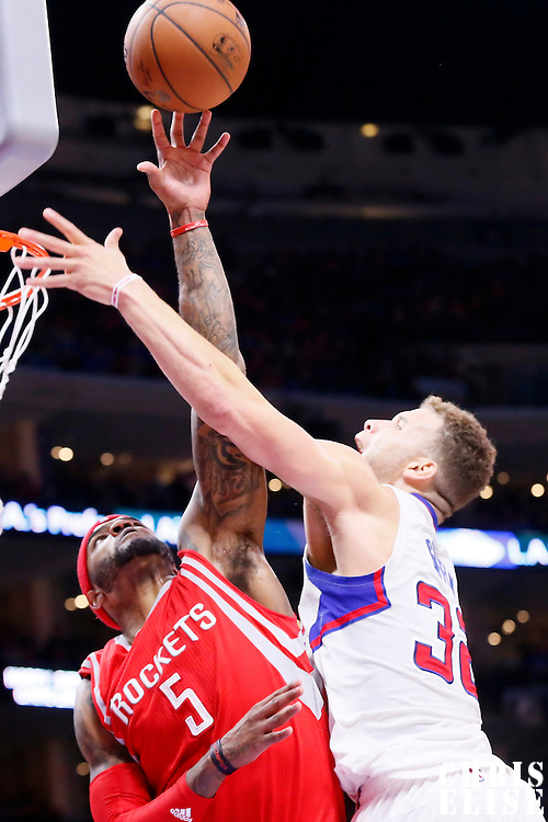 14 May 2015: Houston Rockets forward Josh Smith (5) blocks Los Angeles Clippers forward Blake Griffin (32) during the Houston Rockets 119-107 victory over the Los Angeles Clippers, in game 6 of the Western Conference semifinals, at the Staples Center, Los Angeles, California, USA.
