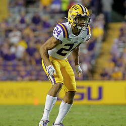 Aug 31, 2019; Baton Rouge, LA, USA; LSU Tigers cornerback Derek Stingley Jr. (24) during the second half against the Georgia Southern Eagles at Tiger Stadium. Mandatory Credit: Derick E. Hingle-USA TODAY Sports