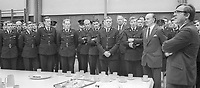 N Ireland Secretary of State Merlyn Rees, extreme right, addresses police recruits at their training college in Enniskillen, Co Fermanagh, N Ireland, UK, 15th August 1974, 197408150445. Also in the photo is Chief Constable, James Flanagan, aka Jamie Flanagan (in civies).<br />
