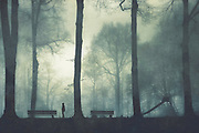 One misty morning on a playground - textured photograph
