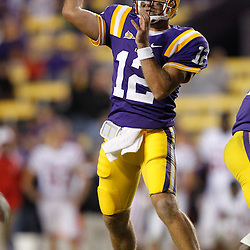 November 12, 2011; Baton Rouge, LA, USA; LSU Tigers quarterback Jarrett Lee (12) against the Western Kentucky Hilltoppers during the second half of a game at Tiger Stadium.  Mandatory Credit: Derick E. Hingle-US PRESSWIRE