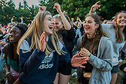Fans of all ages love Boy Blue Entertainment as they perform The Get Down for Sadlers Wells on the Waterfront Stage - The 2017 Latitude Festival, Henham Park. Suffolk 13 July 2017