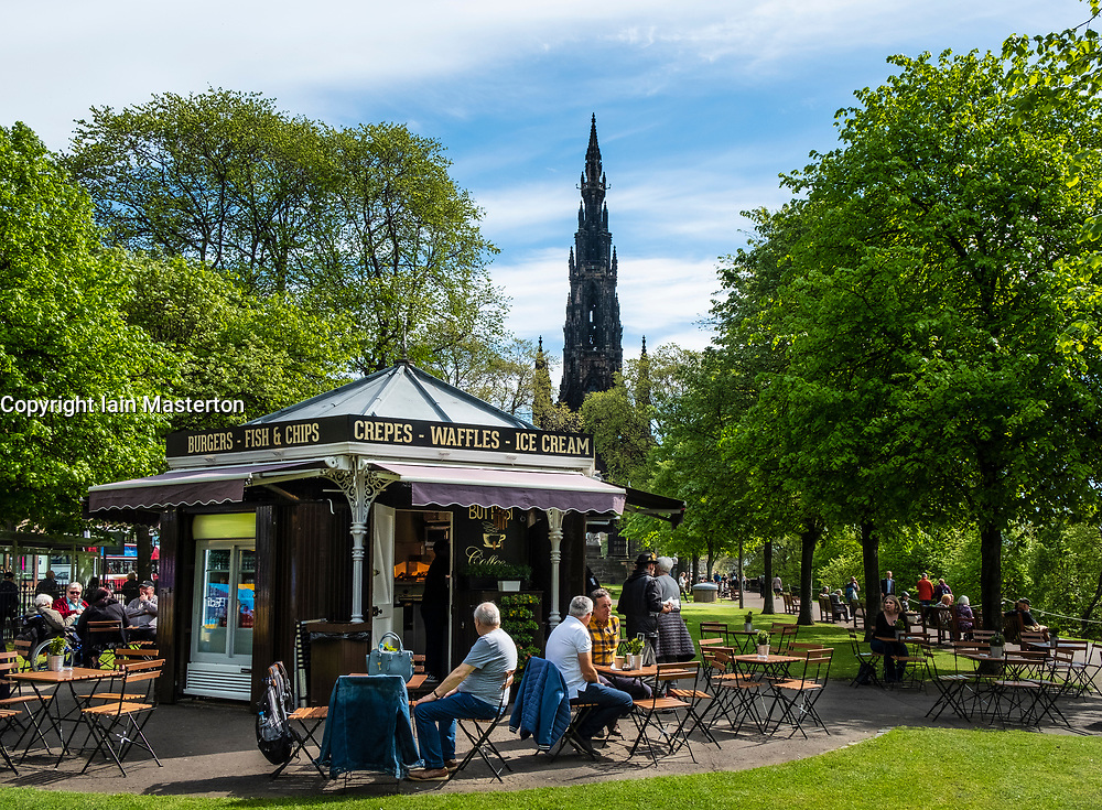 Small outdoor cafe in early summer in Princes Street Gardens in Edinburgh, Scotland, UK