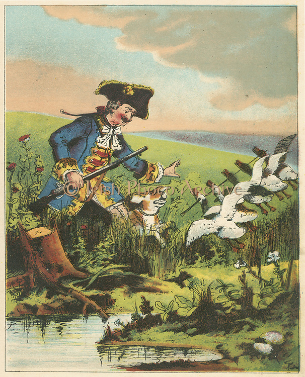 Munchausen, showing his prowess as a hunter by killing many widlfowl with a single shot. From RE Raspe  'The Travels and Surprising Adventures of  Baron Munchausen', first published 1785. Chromolithograph from a French edition c1850