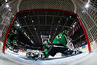 KELOWNA, CANADA - JANUARY 19:  Ian Scott #33 of the Prince Albert Raiders misses a save on a shot by Nolan Foote #29 of the Kelowna Rockets on January 19, 2019 at Prospera Place in Kelowna, British Columbia, Canada.  (Photo by Marissa Baecker/Shoot the Breeze)