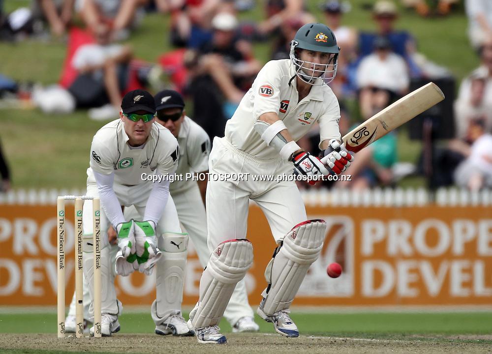 Australian opening batsman Simon Katich batting as Brendon McCullum looks on.<br />Test Match Cricket. 2nd test. Day 1.<br />New Zealand Black Caps versus Australia. Seddon Park, Hamilton, New Zealand. Saturday 27 March 2010. <br />Photo: Andrew Cornaga/PHOTOSPORT