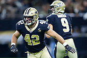 NEW ORLEANS, LA - SEPTEMBER 9:  Zach Line #42 of the New Orleans Saints prepares to block on a pass play during a game against the Tampa Bay Buccaneers at Mercedes-Benz Superdome on September 9, 2018 in New Orleans, Louisiana.  The Buccaneers defeated the Saints 48-40.  (Photo by Wesley Hitt/Getty Images) *** Local Caption *** Zach Line