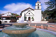 Fountain and Mission San Buenaventura, Ventura, California