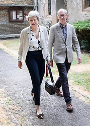 © Licensed to London News Pictures. 22/07/2018. Maidenhead, UK. Prime Minister Theresa May and her Philip attend church in her constituency.   Photo credit: Peter Macdiarmid/LNP