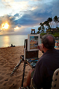Artist, Robert Morrison Wearn, Sunset, Napili Bay, Maui, Hawaii