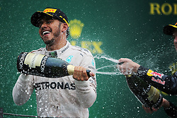 Race winner Lewis Hamilton (GBR) Mercedes AMG F1 celebrates on the podium.<br /> 13.11.2016. Formula 1 World Championship, Rd 20, Brazilian Grand Prix, Sao Paulo, Brazil, Race Day.<br />  <br /> / 131116 / action press
