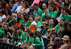 Ireland's fans watching during the Vitality Women's Hockey World Cup pool B match at The Lee Valley Hockey and Tennis Centre, London. PRESS ASSOCIATION Photo. Picture date: Saturday July 21, 2018. Photo credit should read: Steven Paston/PA Wire.