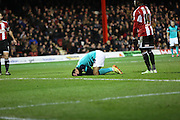 Ben MARSHALL missing golden opportunity to draw level during the Sky Bet Championship match between Brentford and Blackburn Rovers at Griffin Park, London, England on 13 December 2014.