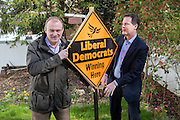 © Licensed to London News Pictures. 06/04/2015. Surbiton, UK Liberal Democrat Leader and Deputy Prime Minister NICK CLEGG and climate secretary ED DAVEY campaigning for votes in the general election in Ed Davy's constituency of Surbiton today 6th April 2015. Photo credit : Stephen Simpson/LNP