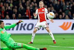 Donny van de Beek #6 of Ajax in action during the Europa League match R32 second leg between Ajax and Getafe at Johan Cruyff Arena on February 27, 2020 in Amsterdam, Netherlands