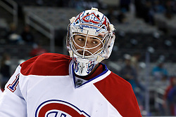 Dec 1, 2011; San Jose, CA, USA; Montreal Canadiens goalie Carey Price (31) warms up before the game against the San Jose Sharks at HP Pavilion.  San Jose defeated Montreal 4-3 in shootouts. Mandatory Credit: Jason O. Watson-US PRESSWIRE