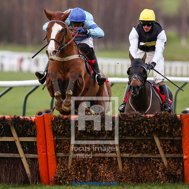 Wayne Hutchinson on Ulzana's Raid (Blue/Blue) en route to winning the Citipost Handicap Hurdle by a nose on the Friday of the International Meeting at Cheltenham Racecourse, Cheltenham<br /> Picture by Mark Chappell/Focus Images Ltd +44 77927 63340<br /> 12/12/2014