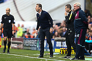 Birmingham City manager Gary Rowett (centre) shouts instructions as Aston Villa manager Steve Bruce (right) looks on during the Sky Bet Championship match at St Andrews, Birmingham<br /> Picture by Andy Kearns/Focus Images Ltd 0781 864 4264<br /> 30/10/2016