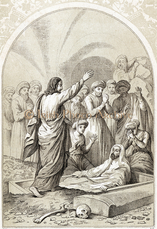 Jesus raising Lazarus from the tomb. Wood engraving c1880
