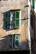 Traditional window shutters in Kerkyra, Corfu Town, Greece