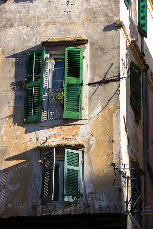 Traditional window shutters in Kerkyra, Corfu Town, Greece