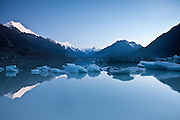 A tranquil dawn at Tasman Glacier Lake, New Zealand
