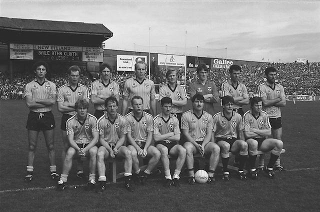 The Dublin team before the All Ireland Senior Gaelic Football Championship Final Kerry v Dublin at Croke Park on the 22nd September 1985. Kerry 2-12 Dublin 2-08.    J O'Leary, M Kennedy, G Hargan, R Hazley, P Canavan, N McCaffrey, D Synnott, J Roynane, B Mullins (capt), B Rock,  T Conroy, C Redmond, J Kearns, J McNally, K Duff. Subs T Carr for Redmond, P J Buckley for B. Mullins.