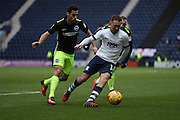 Preston North End midfielder Aiden McGeady (14) and Brighton & Hove Albion centre forward Sam Baldock (9) during the EFL Sky Bet Championship match between Preston North End and Brighton and Hove Albion at Deepdale, Preston, England on 14 January 2017.