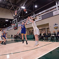 5th year guard Sara Hubenig (7) of the Regina Cougars in action during the Women's Basketball Playoff Game on February  15 at Centre for Kinesiology, Health and Sport. Credit: Arthur Ward/Arthur Images