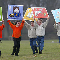 FREE TO USE PIX.<br />Royal Mail launch new stamps celebrating the discovery of DNA...Pictured from left, eight year old twins Terri and Claire Marsh and seven year old triplets, Daniel, Ryan and Matthew Elder who all attend Caledonian Road Primary school in Perth..<br />See press release from Gordon Walker tel: 01786 842688<br />Picture by Graeme Hart.<br />Copyright Perthshire Picture Agency<br />Tel: 01738 623350  Mobile: 07990 594431